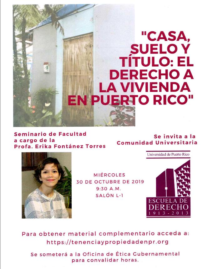 Seminario de facultad: Casa, suelo, título: el derecho a lavivienda